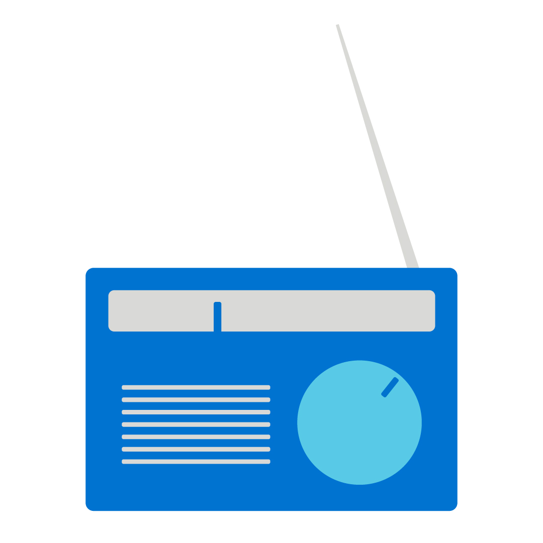 A blue icon of a radio