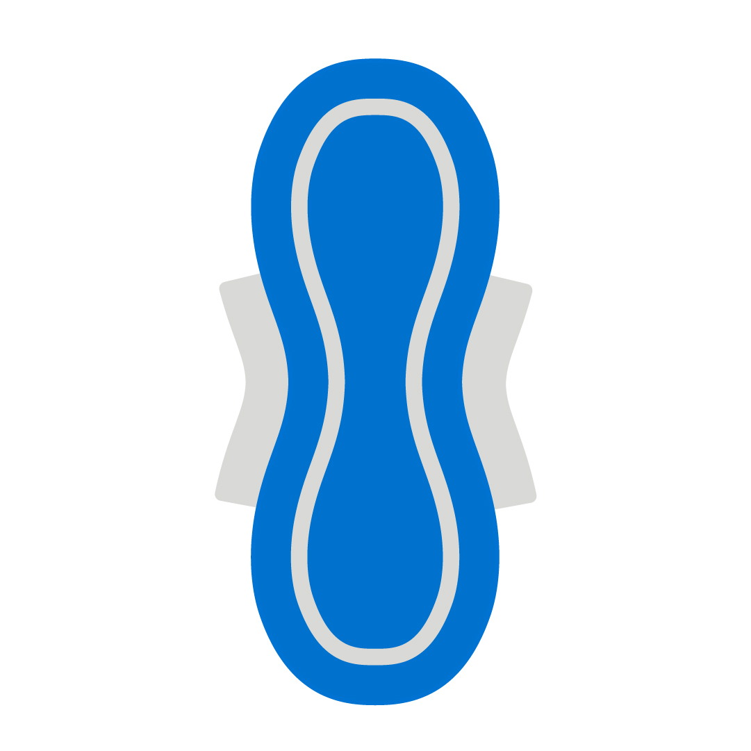 A blue icon of a sanitary pad