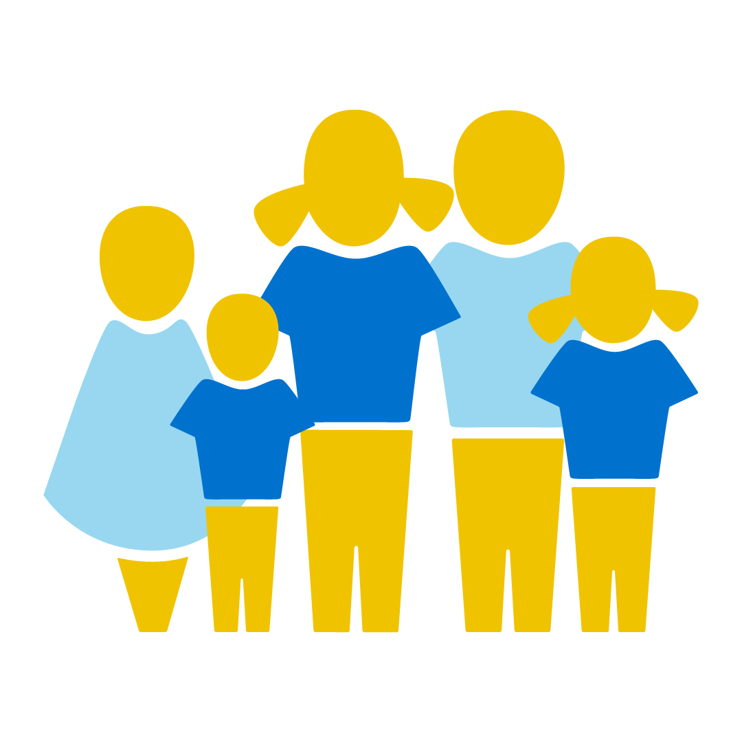 Icon showing a group of adults and children