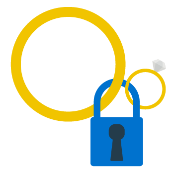 Graphic showing a padlock and wedding ring