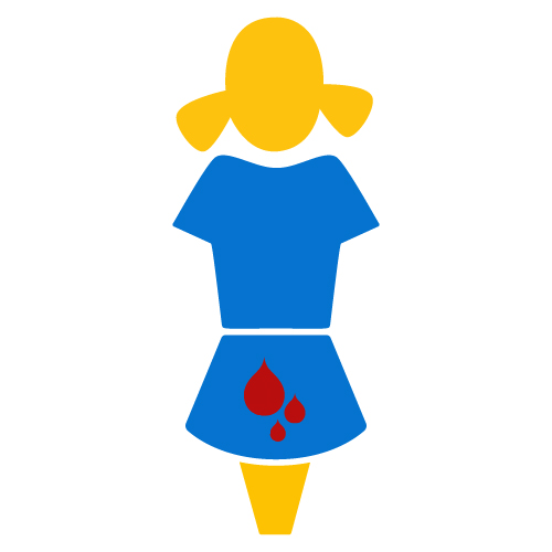 Image of a girl with blood drops on her skirt