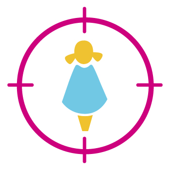 Image of a girl in a pink circle