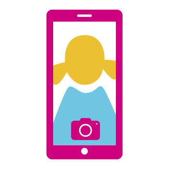 Image of a girl's photo on a mobile phone screen