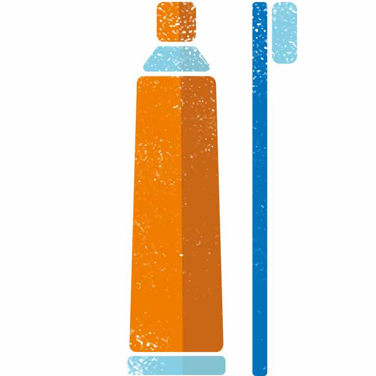 Toothpaste tube_orange and light blue
