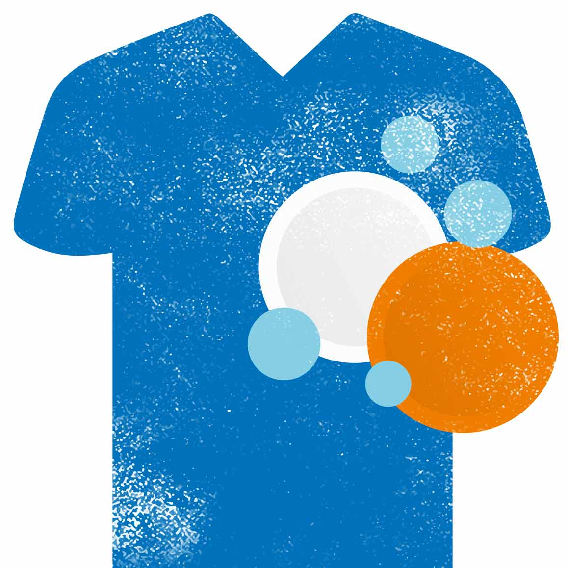 Tshirt and tablets_blue orange and light blue