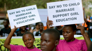 How were ending child marriage protest pic