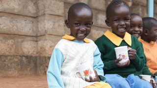 Children smiling, Early childhood care and Development centre, Kenya