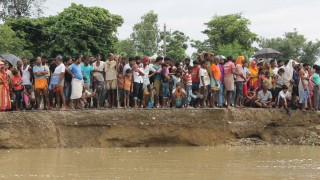 Families affected by floods in Nepal
