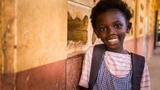 A girl at school in Guinea