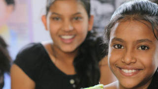 Girls learn at a Plan International Digital Learning Centre in India.