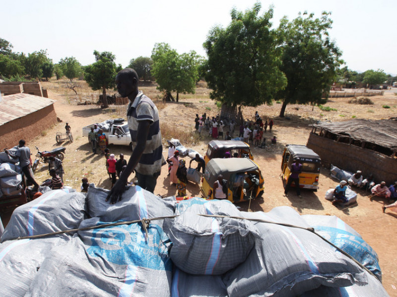 Aid is delivered to communities in Nigeria to help with the food crisis