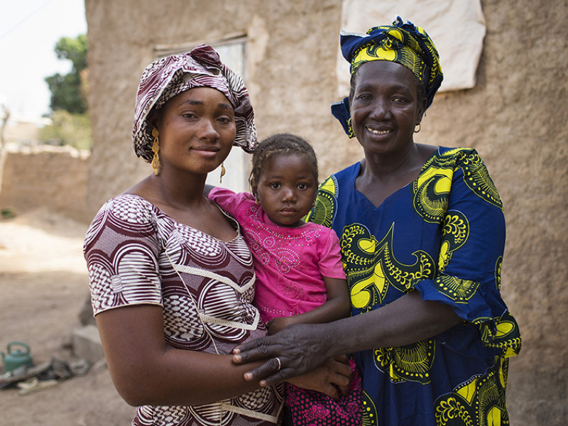 Fatoumata, right, with her daughter Sanaba and grand-daughter Aissatou.
