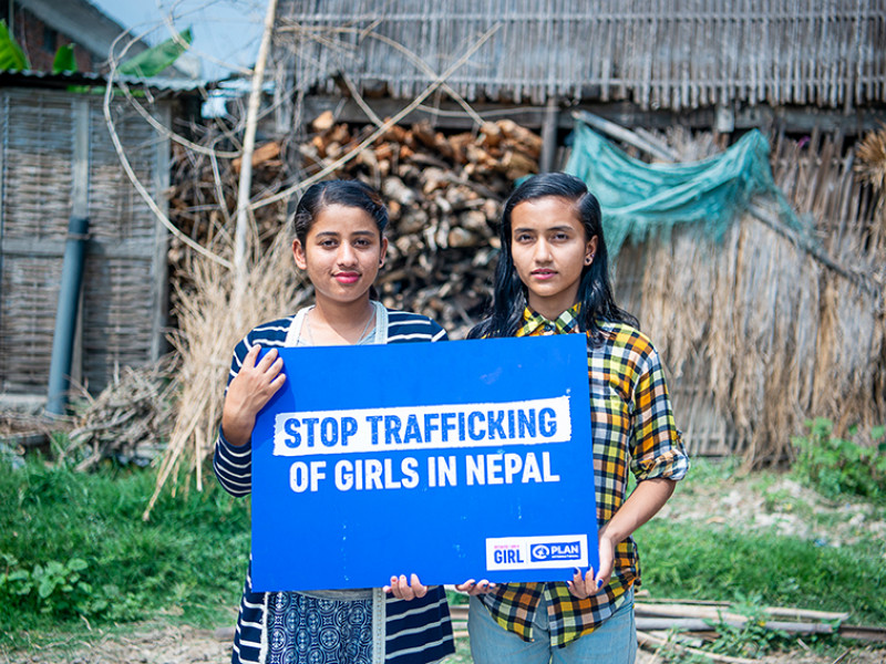 Sabina, left, 17, and Sarita, right, 15, are campaigning to end trafficking in Nepal.