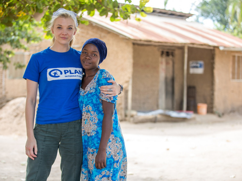 Actor Natalie Dormer with Khadija on her visit to Tanzania