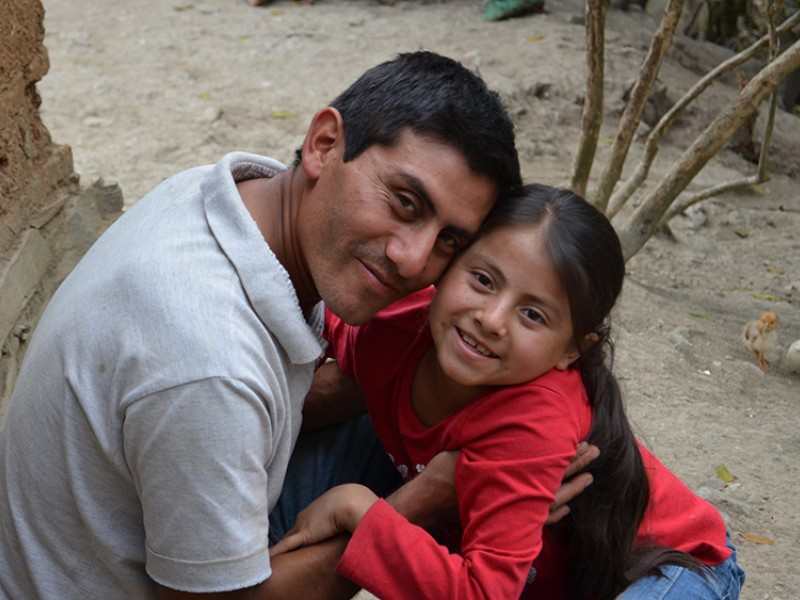 Naydelin with her father Alvaro in Guatemala