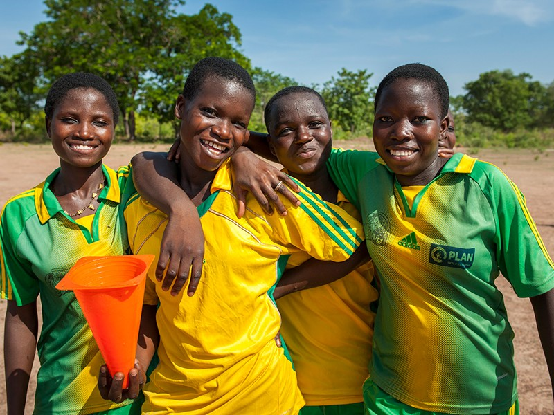 Girls from a female football team in Benin