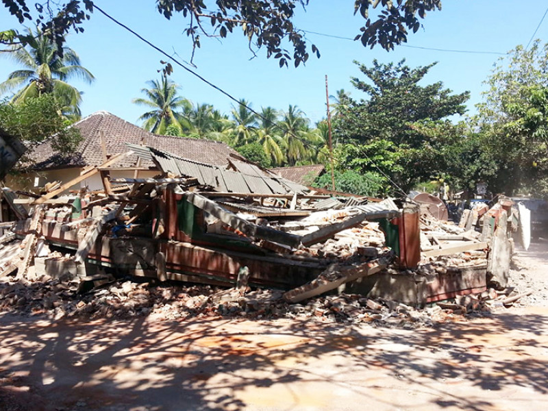 Damage caused by the earthquake in Lombok