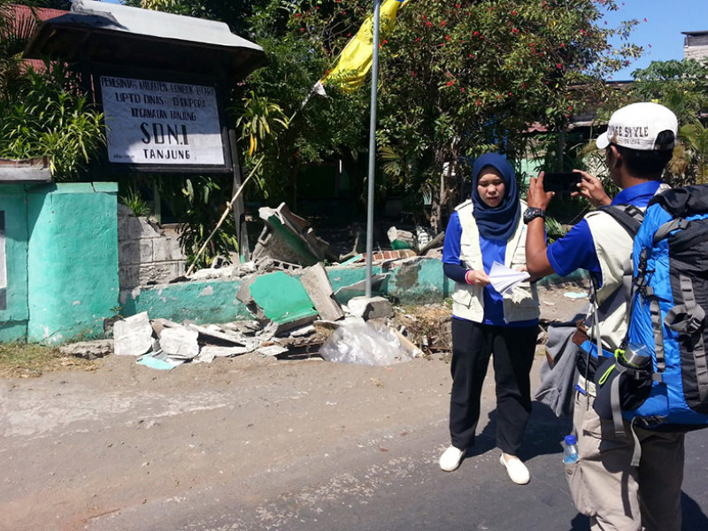 Our response team survey the damage caused by the earthquake