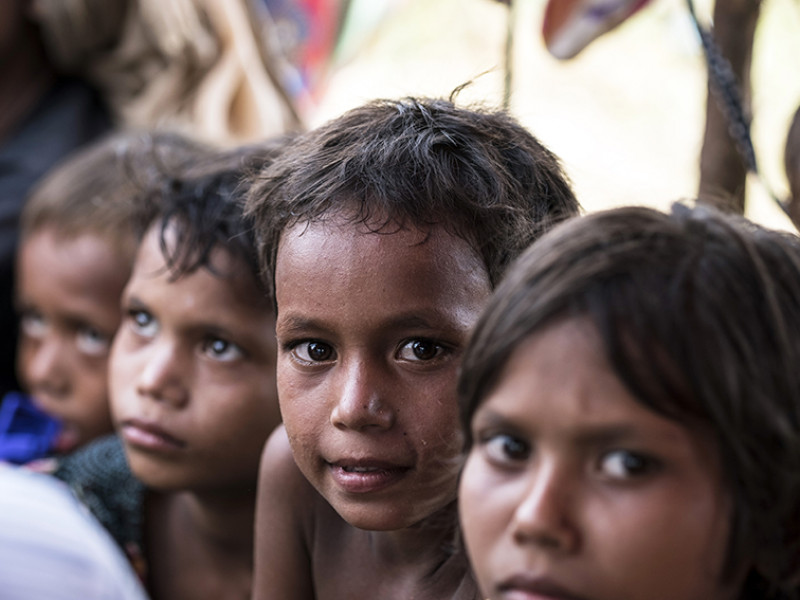A group of children in a refugee camp in Bangladesh