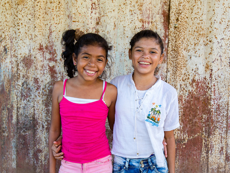 Alison, who is a sponsored child, with her sister in Nicaragua.