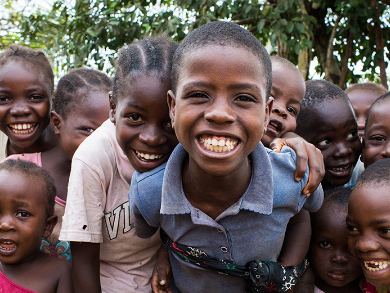 A group of sponsored children in Liberia.