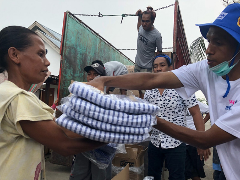 Supplies arrive following the earthquake and tsunami in Indonesia