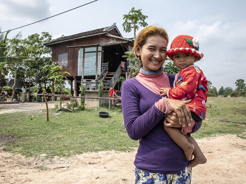 Leam with her baby daughter in Cambodia
