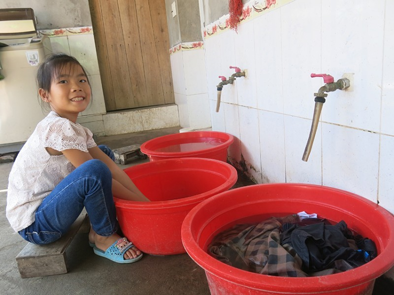 Photo of a girl washing