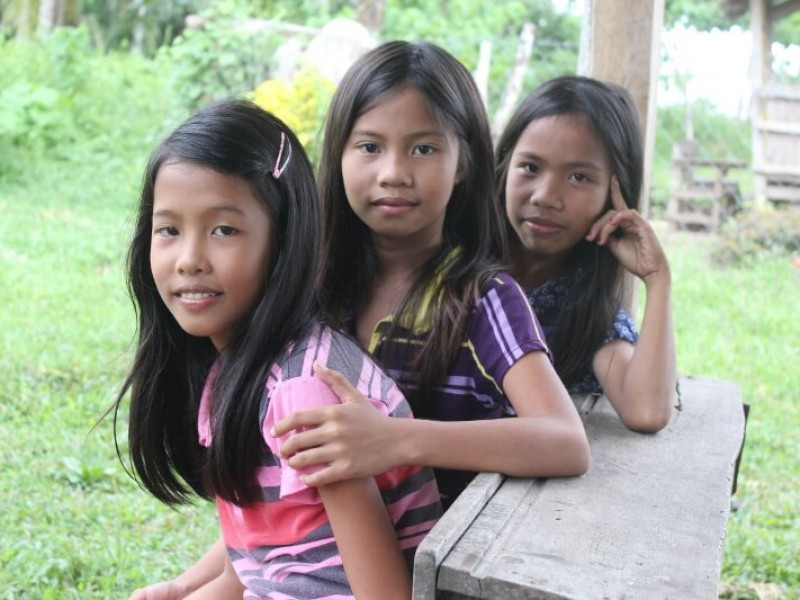 A group of three girls