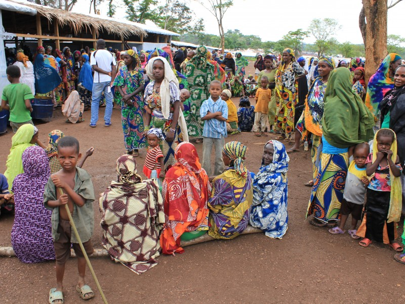 Mum's gather in a Cameroon refugee camp