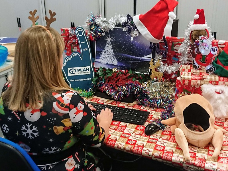 A festively decorated desk