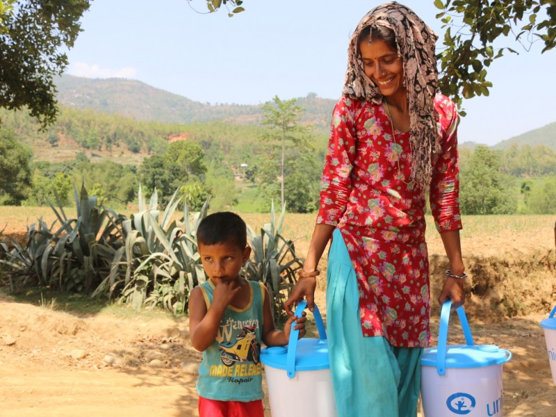 A family has received a water kit in Nepal to ensure they have clean water