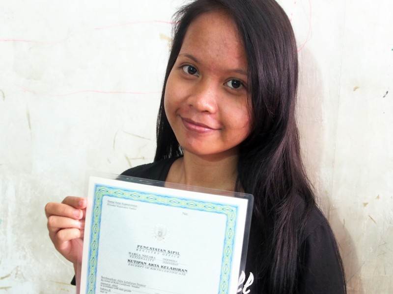 A girl in Indonesia just received her birth certificate