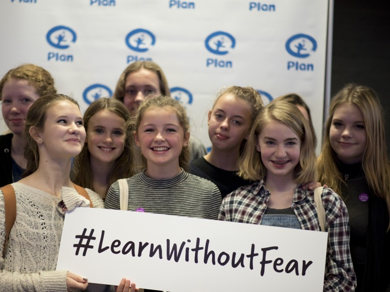 Girls at the youth action festival after a learn without fear workshop