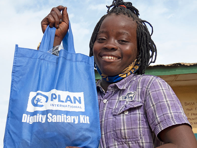 Isatu from Sierra Leone receives her dignity kit