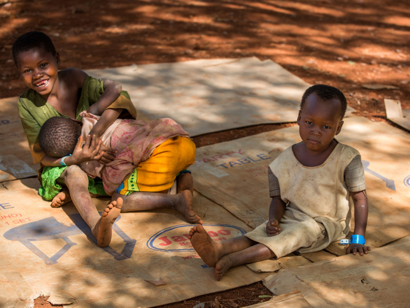 Children play in the newly opened Nduta Refugee Camp