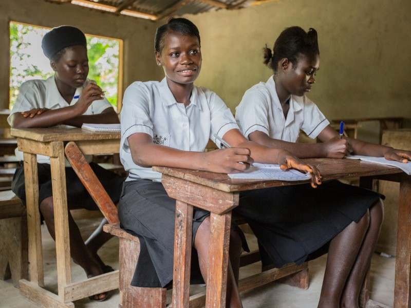 Memunatu, 16, learning at Plan-supported school in Sierra Leone