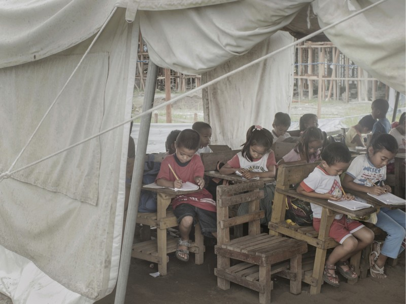 Students in the Philippines carry on their education