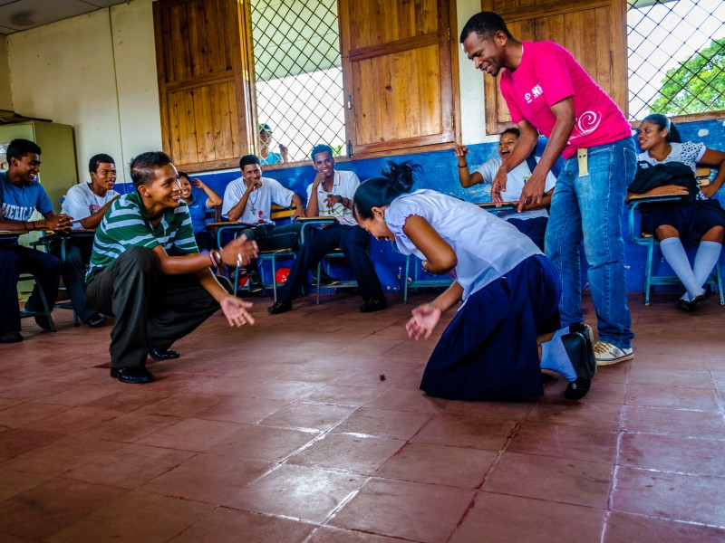 Teenage sex educators take part in activity during their meeting Nicaragua