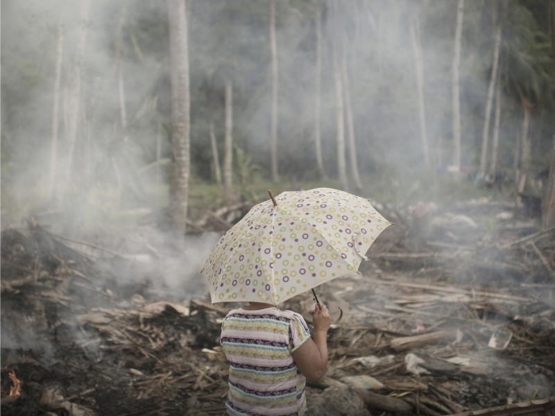 Woman looks over the devastation caused by typhoon haiyan
