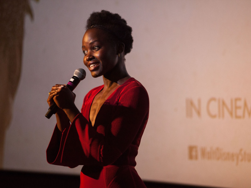 Lupita Nyongo speaking at the Plan International UK Queen of Katwe screening