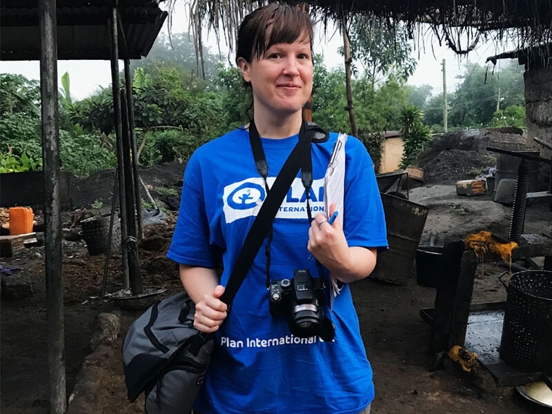 Mila, Plan International UK, holding a camera