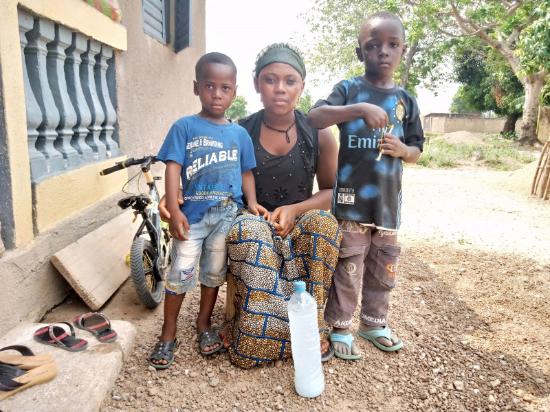 A mother and her two children in Guinea