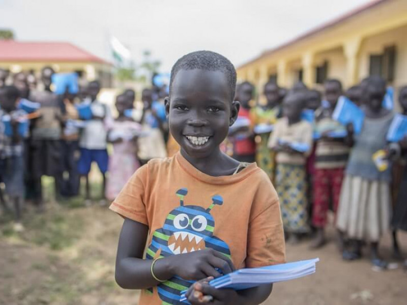 A smiling child in South Sudan