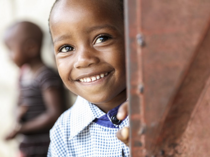A boy at school in Tanzania