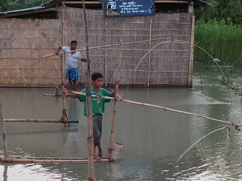 A flooded community in Assam, India
