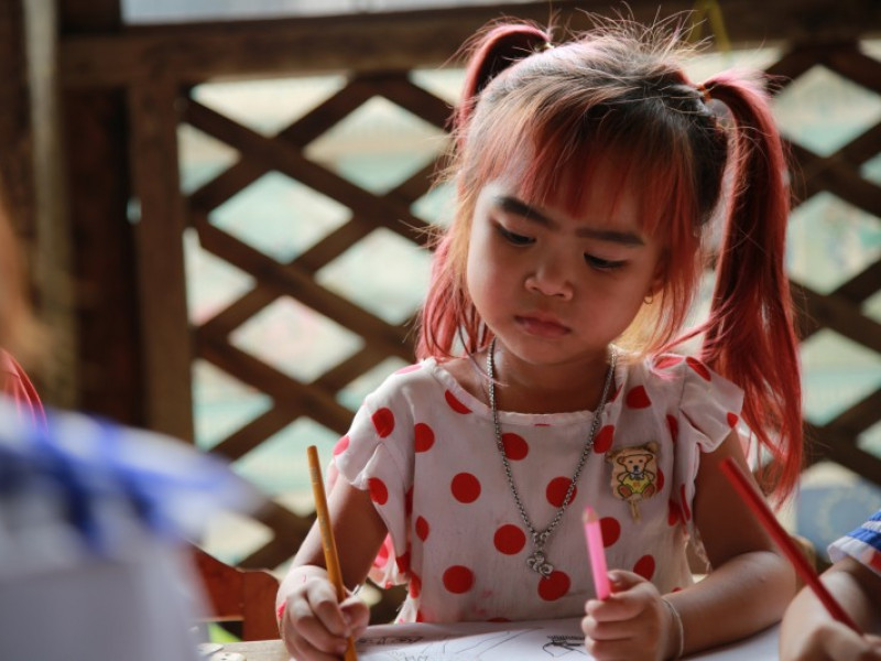 A girl at school in Cambodia