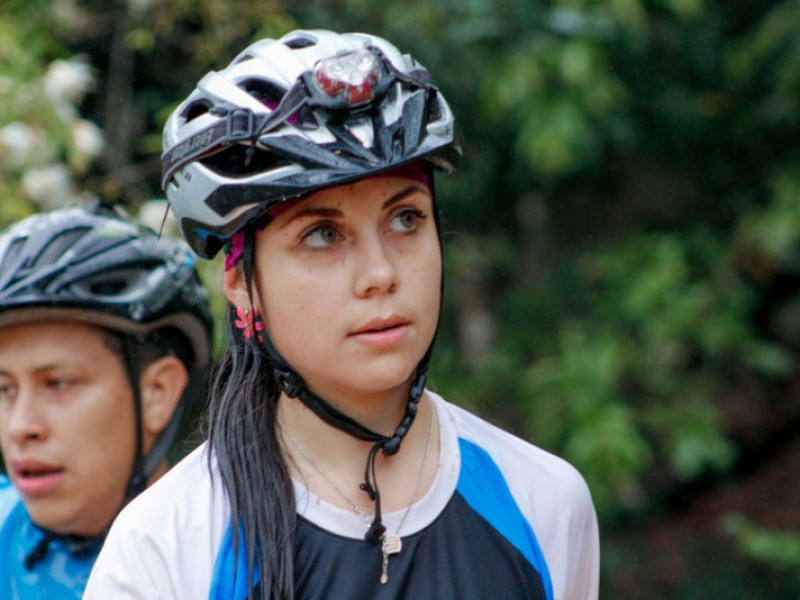 Girl participating in a bike race in Paraguay