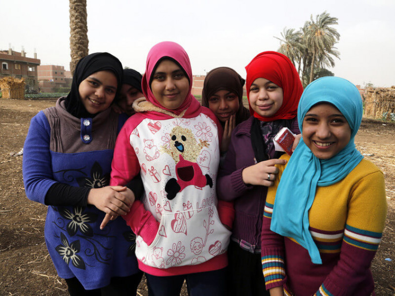 Girls taking part in an FGM awareness session in Egypt