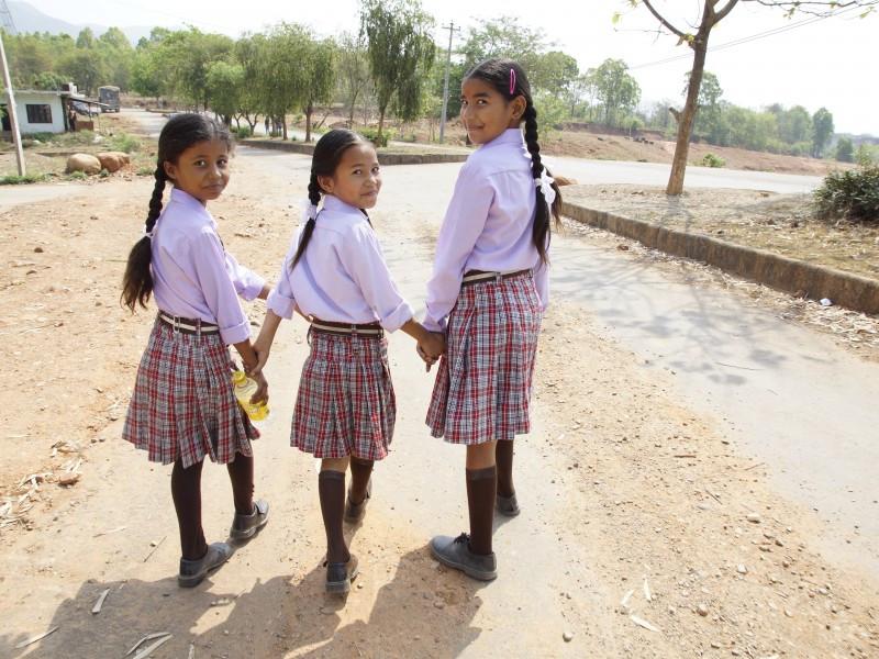 Girls walking to school in Nepal